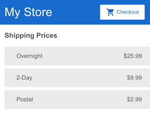 Display shipping prices
